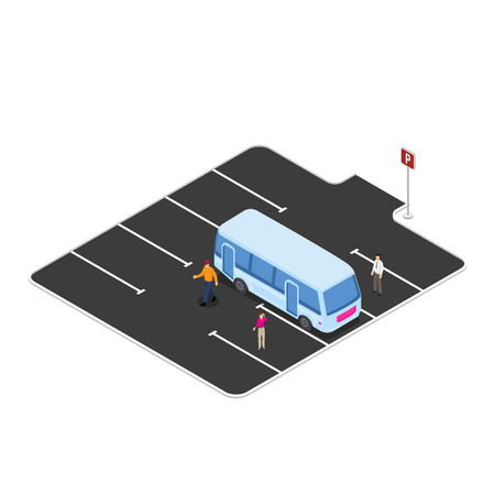 Bus stop, parking on station vector illustration Imagens - 123157566