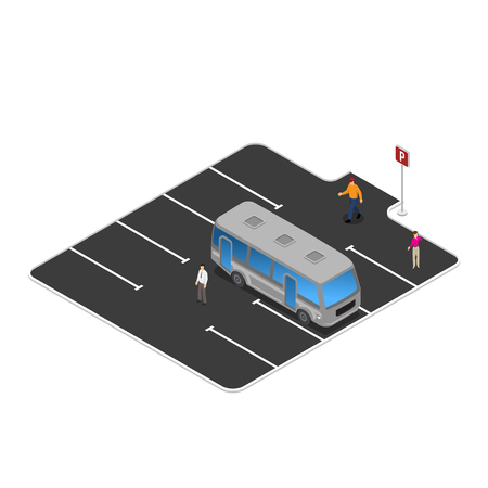 Bus stop, parking on station vector illustration
