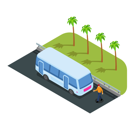 Bus on road vector illustration