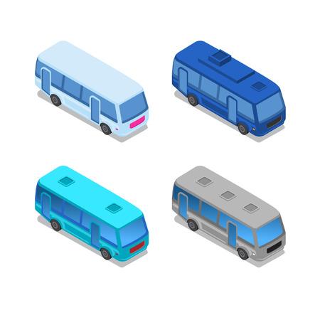 Isometric Bus, City public bus vector Illusztráció