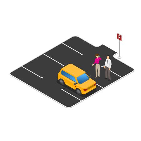 Voiture dans le parking vecteur isométrique