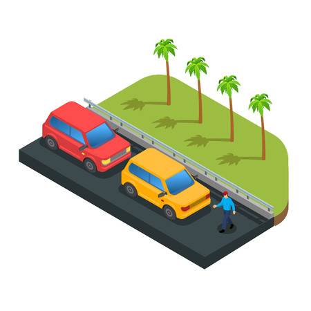 Cars parking along on street with green trees vector Imagens - 123157594