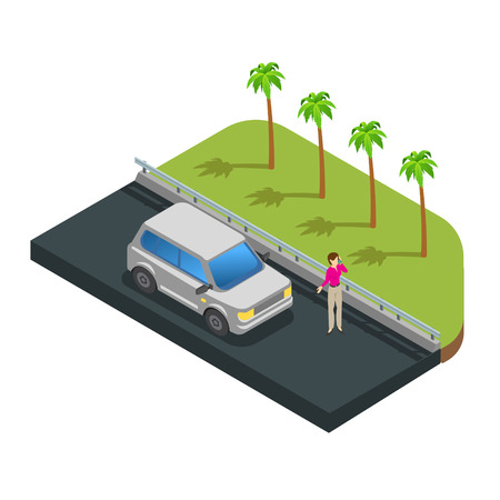Cars parking along on street with green trees vector Imagens - 123157702