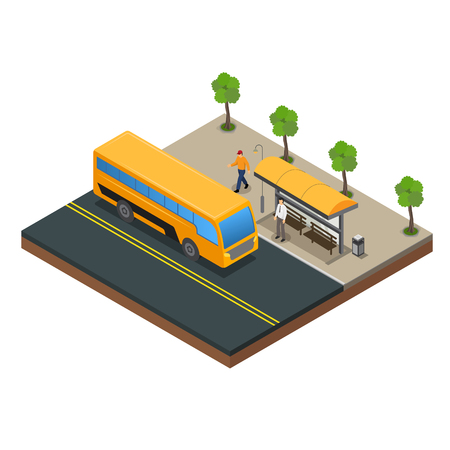 Public Transportation and bus stop vector Ilustracja