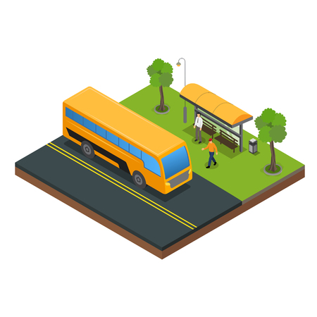 Public Transportation and bus stop vector Illustration