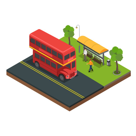Bus stop for passengers to board vector illustration