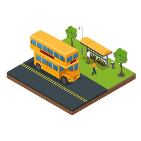 Bushaltestelle für Passagiere zum Einsteigen in die Vektorillustration Vektorgrafik