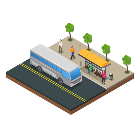 Public Transportation and bus stop vector Imagens - 123157726