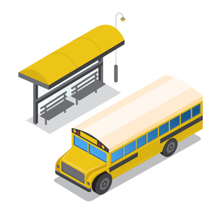 Yellow school bus on bus stop vector illustration