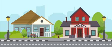 Residential Houses Vector Illustration Ilustração