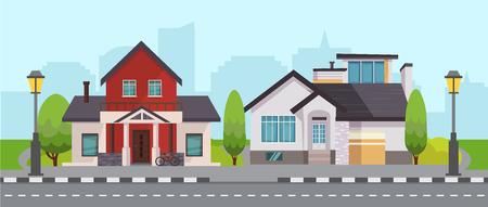 Residential Houses Vector Illustration Imagens - 123604476