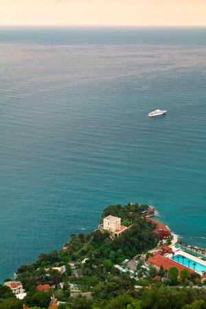 cruiseship: Cruise ship sails on the Mediterranean Sea, near Monaco and the French Riviera Stock Photo