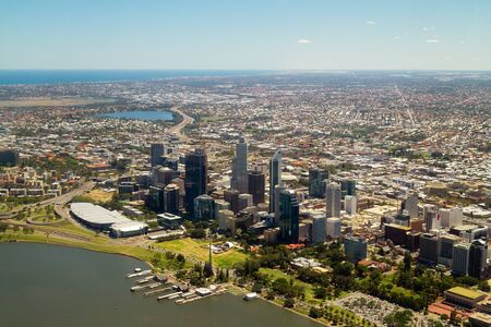 herdsman: Aerial view of Perth city skyline, Swan River and horizon. Western Australia Editorial