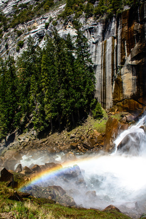 venal: This is the rainbow generated by Venal Fall at Yosemite national park.