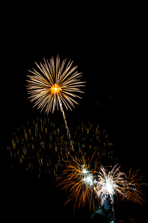 Beautiful Colorful Fireworks in a Celebrating Night at Independent Day of USA. Stock Photo