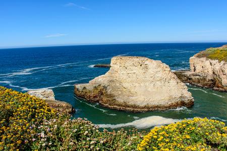 Shark Fin Cove, at California 1 Freeway, Pacific beach, Santa Cruz, CA, USA.