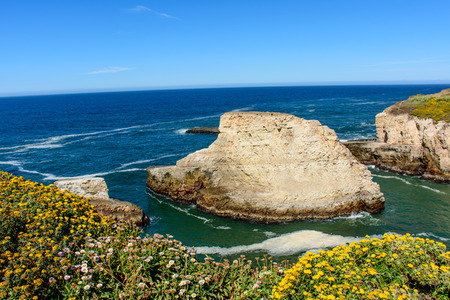 davenport: Shark Fin Cove, at California 1 Freeway, Pacific beach, Santa Cruz, CA, USA.