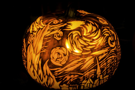 Halloween Pumpkin Statue Lantern of Vincent Van Gogh Star, which is one of his famous picture. Stock Photo