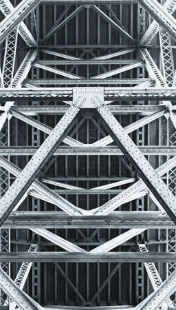 beams and girders on underside of bridge Stock Photo