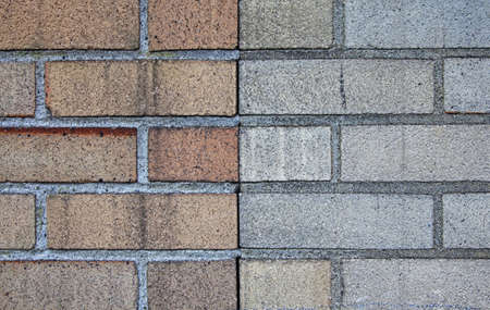 two brick walls in opposing colors