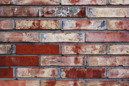morter: detail of old painted brick wall