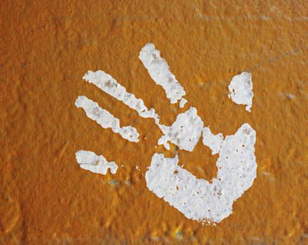 fingers: hand print painted on wall