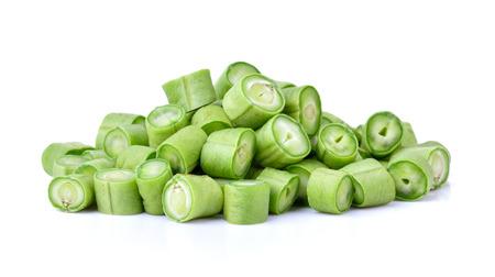 long bean: green long bean slice on white background