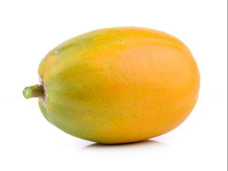 color photographs: papaya on white background