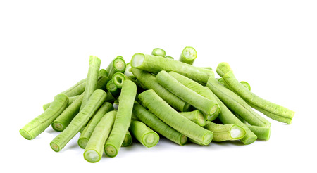 long beans: long beans slice isolated on background Stock Photo