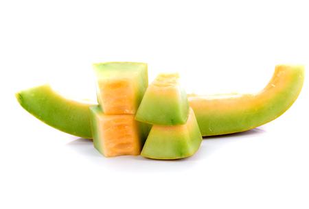 Cantaloupe: Ripe cucumis,Ripe cantaloupe on white background Stock Photo
