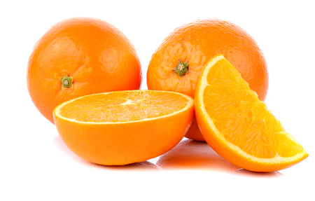 oranges on white background Stock Photo