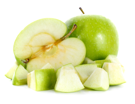 Green apples  on white background