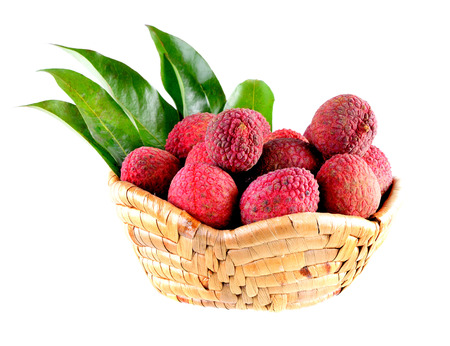 litchee: lychees in basket on white background