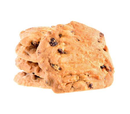 Chocolate chip cookies on white background