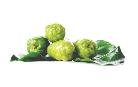 Exotic fruit,noni fruit on white background Stock Photo
