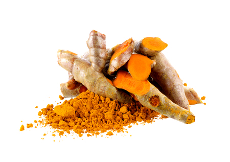 tumeric: Turmeric and Turmeric powder on white background Stock Photo