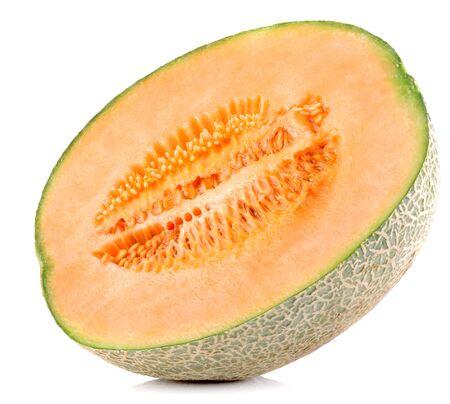 cantaloupe melon slices on white background Stock Photo