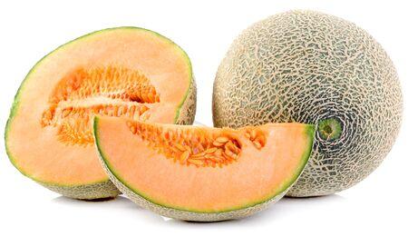 cantaloupe melon slices on white background Фото со стока