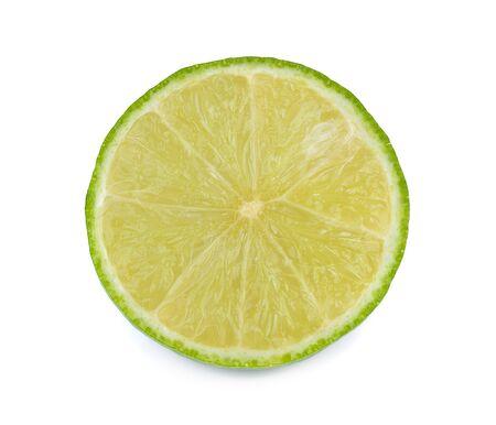 slice lime on white background