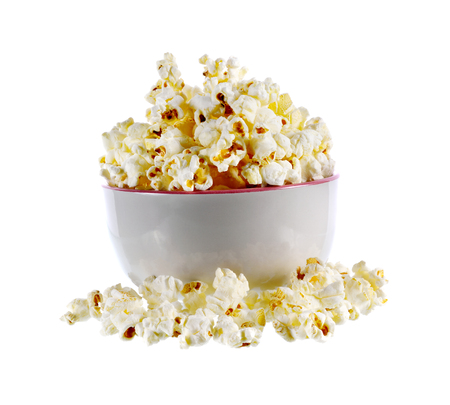 Pop corn in bowl on white background