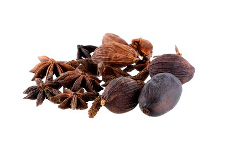 Nutmeg,Star anise spice fruots and seeds on white background