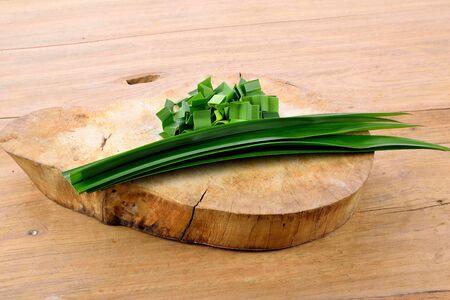 pandan: Fresh pandan leaves on wooden table