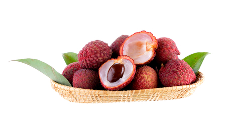 litchee: Lychees in the baskrt on white background