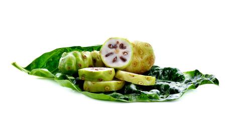 noni: Exotic fruit,noni fruit on white background Stock Photo