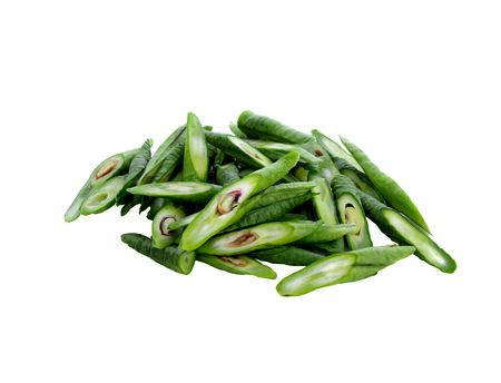 green long bean slice Isolated on white background