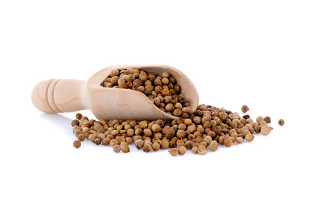 coriander seed in wooden scoop  isolated on white background