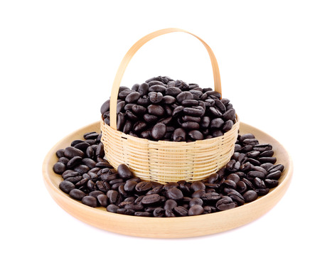 Fresh coffee beans in basket  with wooden plate   isolated on white background