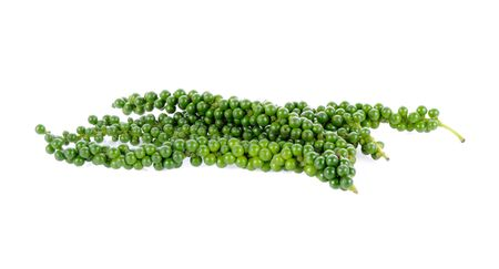 Bunches of fresh green pepper isolated on white background Фото со стока