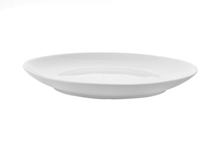 Empty white plate isolated on a white background Stock fotó