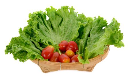 fresh lettuce leaves and tomatoes in the basket on white background